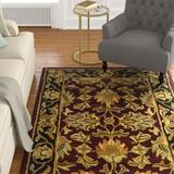 Charlton Home® Cranmore Handmade Tufted Wool Red/Black Rug Wool in Black/Brown, Size 108.0 H x 72.0 W x 0.63 D in | Wayfair
