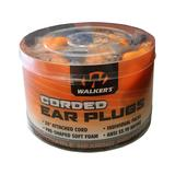 Walker's Corded Ear Plugs (NRR 32 dB) Bucket of 50 Individually Packaged Pairs Orange