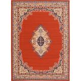 World Menagerie Aerin Floral Terracotta Red/Beige Area Rug Polypropylene in Brown/Red/White, Size 120.0 H x 84.0 W x 0.33 D in | Wayfair