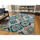 Century Home Goods Collection Panal and Diamonds Area Rug 5x8 Blue Rugs for Living Room Cheap 5x7 Gray Area Rugs on Clearance Under 50