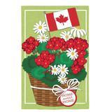 Evergreen Enterprises, Inc Canadian Patriotic Basket of Flowers Linen Garden Flag in Green/Red, Size 44.0 H x 28.0 W in   Wayfair 13L4502BL