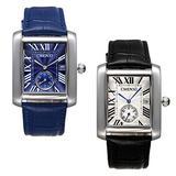 Men's Antique Square Face Watch 2Pcs Japan Quartz Independent Second Dial Calendar Leather Occasion Dress Wrist Watches