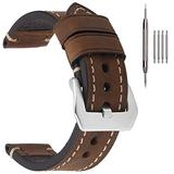 22mm Leather Mens Watch Bands,EACHE Crazy Horse Genuine Leather Watchband,22mm Watch Replacement Straps in Dark Brown With Silver buckle