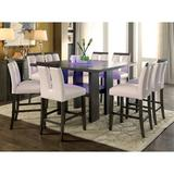 Latitude Run® Travis 9 Piece Counter Height Dining SetWood/Glass/Upholstered Chairs in Brown/Gray, Size 36.0 H x 54.0 W x 54.0 D in   Wayfair