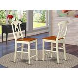 East West Furniture Kenley outdoor counter height chairs-Wooden Seat and Buttermilk Hardwood Structure counter height chairs set of 2