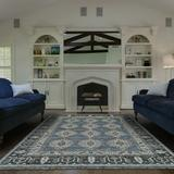 Astoria Grand Flaxberry Oriental Hand-Knotted Wool Dark Blue Area Rug Wool in White, Size 36.0 H x 24.0 W x 0.45 D in | Wayfair ASTG7230 36933966