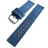 New Military Army Men Man Nylon Canvas Fabric Wrist Blue Watch Band Strap 22mm