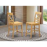 East West Furniture Quincy bar stools set of 2-Oak Wooden Seat and Oak Solid wood Frame counter height chairs