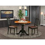 East-West Furniture ANAV3-BLK-LC Mid-Century Dining Table Set- 2 Fantastic Dining Chairs - A Beautiful Wood Table- Faux Leather Seat and Black Finnish Dining Table