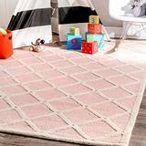 nuLOOM Takako Hand Hooked Wool Area Rug, 3' x 5', Pink