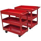 vidaXL 2 x Workshop Tool Trolley 220 lbs 3 Shelves