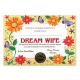 The Beistle Company Dream Wife Certificate Paper in Orange/Red/Yellow, Size 5.0 H x 7.0 W in   Wayfair CG051
