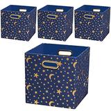 Storage Cubes,11×11×11 Storage Bins Boxes Baskets Containers for Nurseries,Kid's Toys (Set of 4, Stars)