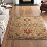 Three Posts™ Ashville Oriental Handmade Tufted Wool Beige Area Rug Wool in Brown/White, Size 72.0 H x 72.0 W x 0.63 D in   Wayfair