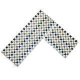 "Easychan 2 Piece Carpet Rubber Backing Non-Slip Kitchen Mat Doormat Area Rugs (17""x23""+17""x47"", Blue Mosaic)"