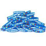 100 Autism Awareness Bracelets - Colorful Puzzle Pieces Silicone Wristbands