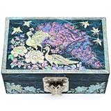 MADDesign Mother of Pearl Jewelry Watch Box Ring Tray Hand Made Sea Shell Inlay Peacock Blue