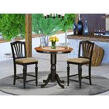 East West Furniture JACH3-BLK-C 3-Piece Kitchen Table Set - Round Top Wooden Table - 2 Dining Chairs Slatted Back and Linen Fabric Seat (Black Finish)