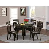 East-West Furniture 5-Pieces Small Dining Table Set PU Leather kitchen chairs - Cappuccino Finish Hardwood 4 legs Mid-century Dining Table and Frame