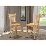 East-West Furniture Groton counter height chairs - Oak Wooden Seat and Oak Solid wood Frame counter height dining chairs set of 2