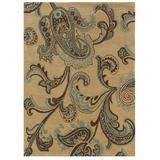Fleur De Lis Living Mckinnie Paisley Handmade Tufted Beige/Area Rug Polyester in Blue, Size 84.0 H x 60.0 W x 1.5 D in | Wayfair CHRL1842 37497080