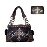 Texas West Women's Cross Concealed Carry Shoulder Handbag Wallet Set in 9 Colors (Black)