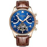 PASOY Men Automatic Mechanical Watch Tourbillon Blue Dial Brown Leather Band Day Week Waterproof Watches for Men (Gold Case)