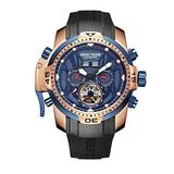 Reef Tiger Military Watches for Men Rose Gold Complicated Blue Dial Automatic Sport Watches RGA3532 (RGA3532-PLLR)