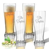 Carved Solutions Personalized Tritan 4 Piece 14 oz. Plastic Pilsner Glass Set Plastic, Size 7.0 H in   Wayfair ACL-TPIL14S4-PN-LAV