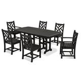 POLYWOOD® Chippendale 7 Piece Dining Set Plastic in Black, Size 29.0 H x 71.5 W x 36.75 D in | Wayfair PWS121-1-BL