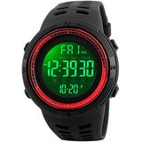 Fanmis Mens Digital LED Sports Watch Military Multifunction 12H/24H Time Dual Time Alarm Countdown Back Light with Simple Design 164FT 50M Water Resistant Calendar Month Date Day Watch (Black Red)