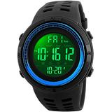 Fanmis Mens Digital LED Sports Watch Military Multifunction 12H/24H Time Dual Time Alarm Countdown Back Light with Simple Design 164FT 50M Water Resistant Calendar Month Date Day Watch (Black Blue)
