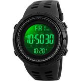 Fanmis Mens Digital LED Sports Watch Military Multifunction 12H/24H Time Dual Time Alarm Countdown Back Light with Simple Design 164FT 50M Water Resistant Calendar Month Date Day Watch (All Black)