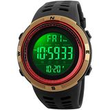 Fanmis Mens Digital LED Sports Watch Military Multifunction 12H/24H Time Dual Time Alarm Countdown Back Light with Simple Design 164FT 50M Water Resistant Calendar Month Date Day Watch (Gold Red)