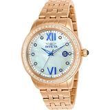 Invicta 23663 Women's Angel Crystal Accented Bezel MOP Dial Rose Gold Steel Bracelet Watch