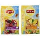 Lipton Tea & Honey Iced Green Tea Mix To Go Packets, Variety Pack 6 Pack 10 ct