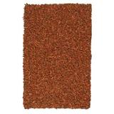 Pelle Leather Shag Rug, 4 by 6-Feet, Copper