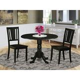 East West Furniture 3-Pcs dining table set 2 Excellent dining chairs - A Beautiful dining room table- Wooden Seat and black two 9-Inch Drop Leaves dining table