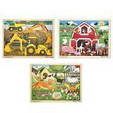 Melissa & Doug Wooden Jigsaw Puzzle arm, Construction, Pets Puzzle (24 Piece)
