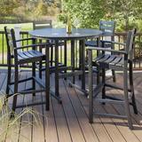 Trex Outdoor Monterey Bay 5 Piece Bar Height Dining Set Wood/Plastic in Black, Size 42.0 H x 48.0 W x 48.0 D in | Wayfair TXS119-1-CB