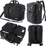FreeBiz Laptop Backpack Messenger Bag-Hybrid Briefcase Backpack Vintage Bookbag Rucksack Satchel-Nylon Water-Resistant for 15.6 Inch Laptop