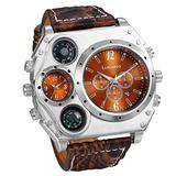 Men's Watch Steampunk Dual Time Zone Four Dial Big Face Watches Japan Quartz Calendar with Decorative Compass Thermometer Brown Leather Strap for Halloween Costume Party