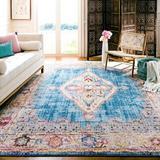 Bungalow Rose Runner Saniveieri Oriental Blue/Ivory Area Rug Polyester in White, Size 84.0 W x 0.32 D in | Wayfair BNRS2377 34875870