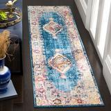 Bungalow Rose Runner Saniveieri Oriental Blue/Ivory Area Rug Polyester in White, Size 0.32 D in | Wayfair BNRS2377 34875864