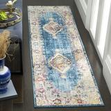 Bungalow Rose Runner Saniveieri Oriental Blue/Ivory Area Rug Polyester in White, Size 27.0 W x 0.32 D in | Wayfair 0FDD9DDA51ED4F01B9C65B120D0E3AD5