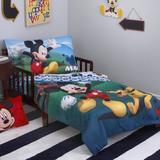 Disney Mickey Mouse Playhouse 4 Piece Toddler Bedding Set Polyester in Blue | Wayfair 6092416