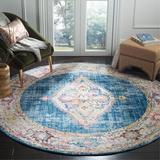 Bungalow Rose Runner Saniveieri Oriental Blue/Ivory Area Rug Polyester in White, Size 0.32 D in | Wayfair BNRS2377 34875869