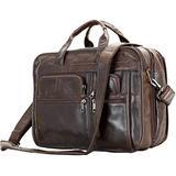 Berchirly Men Leather 15inch Expandable Laptop Bags Computer Business Briefcase Cowhide Handbag Travel Case