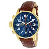 Invicta Men's I-Force Gold Tone Stainless Steel Quartz Watch with Brown Leather Strap, Brown/Blue (Model: 3329)