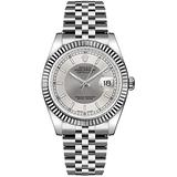 Rolex Datejust Silver Rhodium Dial 18k White Gold Fluted Bezel Jubilee Bracelet Mens Watch 116234SRSJ